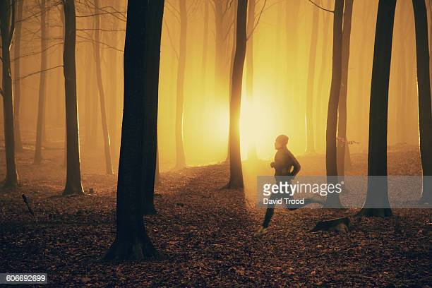 Jogger at sunrise in misty forest