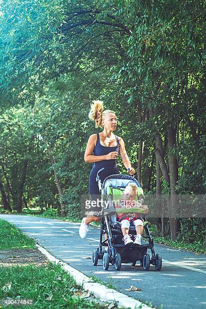 Jogger mom with baby in stroller