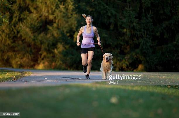 Golden Retriever und Jogger