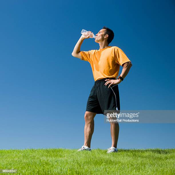 jogger with a bottled water