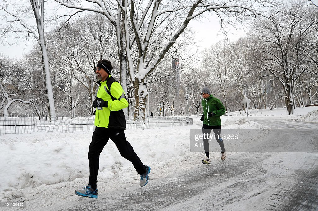 Joggers in Central Park brave the weather after winter storm Nemo covered New York City with 4 to 8 inches (10-20cms) of snow on February 9, 2013. The storm was forecast to bring the heaviest snow to the densely-populated northeast corridor so far this winter, threatening power and transport links for tens of millions of people and the major cities of Boston and New York. New York and other regional airports saw more than 4,500 cancellations ahead of what the National Weather Service called 'a major winter storm with blizzard conditions' along most of the region's coastline.