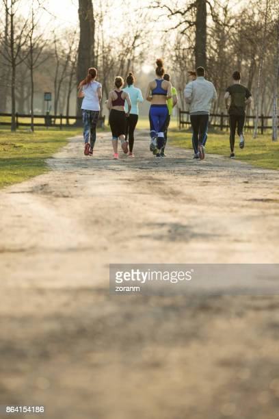 Joggers in park