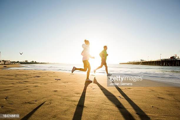 Jogging along the coast.