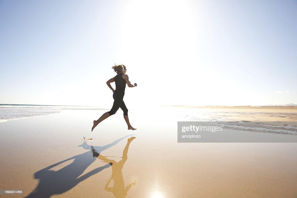 jogging at bright sunshine