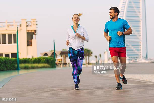 Jogging during sunset in Dubai