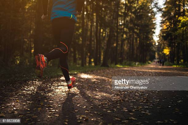 Jogging in the woods