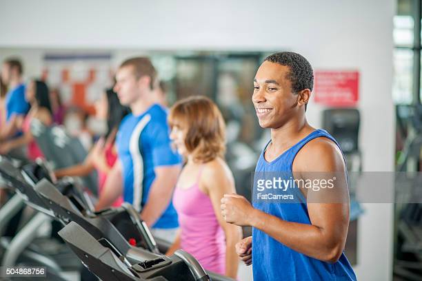 Jogging on a Treadmill at the Gym