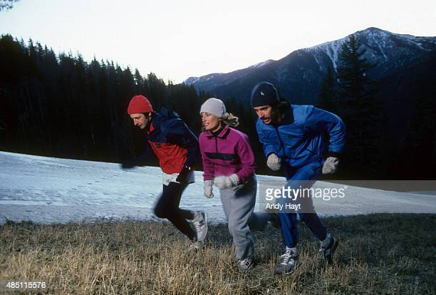Sporting Look Portrait of Peter Blake runs in HellyHansen's polypropylene body wear and GUTS jacket Pam Garrison in Roffe's fleece outfit and Chip...