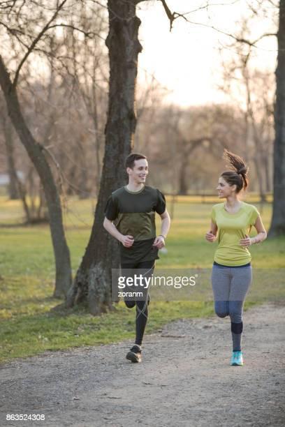 Jogging through park
