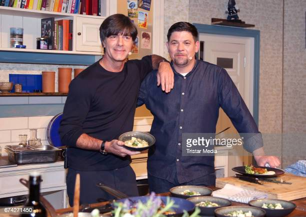 Jogi Loew and Tim Maelzer during the Nivea Men Photo Call at on April 27 2017 in Hamburg Germany