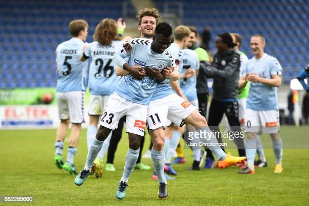 Johan Absalonsen and Silas Songani of Sonderjyske celebrate after the Danish Alka Superliga match between SonderjyskE and FC Midtjylland at Sydbank...