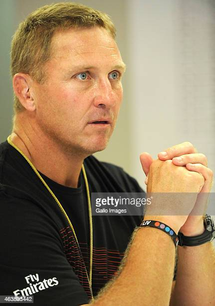 Johan Ackermann during the Emirates Lions training session and press conference at Emirates Airline Park on February 19 2015 in Johannesburg South...