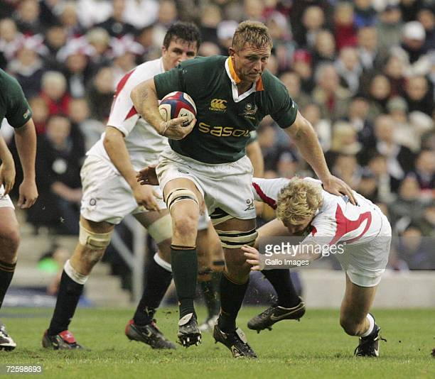Johan Ackermann of South Africa drives forward during the Springbok End of Year tour match between England and South Africa at Twickenham Stadium on...