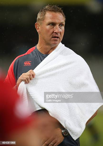 Johan Ackermann of the Emirates Lions during the Super Rugby match between Cell C Sharks and Emirates Lions at Growthpoint Kings Park on February 21...
