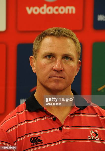Johan Ackermann of the Lions during the Super Rugby match between Emirates Lions and Cell C Sharks at Emirates Airline Park on April 11 2015 in...