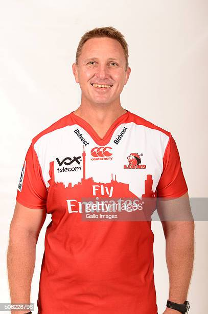 Johan Ackermann poses during the 2016 Lions Super Rugby headshots session on January 21 2016 in Johannesburg South Africa