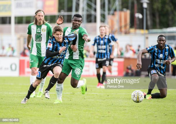 Johan Andersson of IK Sirius FK and Joseph Aidoo of Hammarby IF during the Allsvenskan match between IK Sirius FK and Hammarby IF at Studenternas IP...