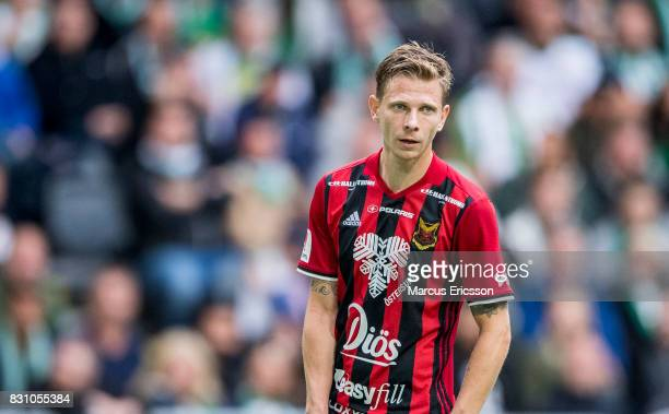Johan Bertilsson of Ostersunds FK during the Allsvenskan match between Hammarby IF and Ostersunds FK at Tele2 Arena on August 14 2017 in Stockholm...