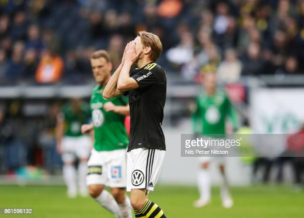 Johan Blomberg of AIK dejected during the Allsvenskan match between AIK and Jonkopings Sodra IF at Friends Arena on October 15 2017 in Solna Sweden