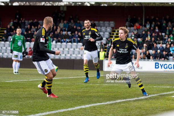Johan Blomberg of AIK scores the opening goal to of AIK during the Allsvenskan match between Jonkopings Sodra IF and AIK at Stadsparksvallen on April...