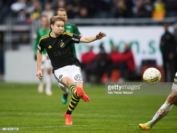 Johan Blomberg of AIK shoots during the Allsvenskan match between AIK and Jonkopings Sodra IF at Friends Arena on October 15 2017 in Solna Sweden