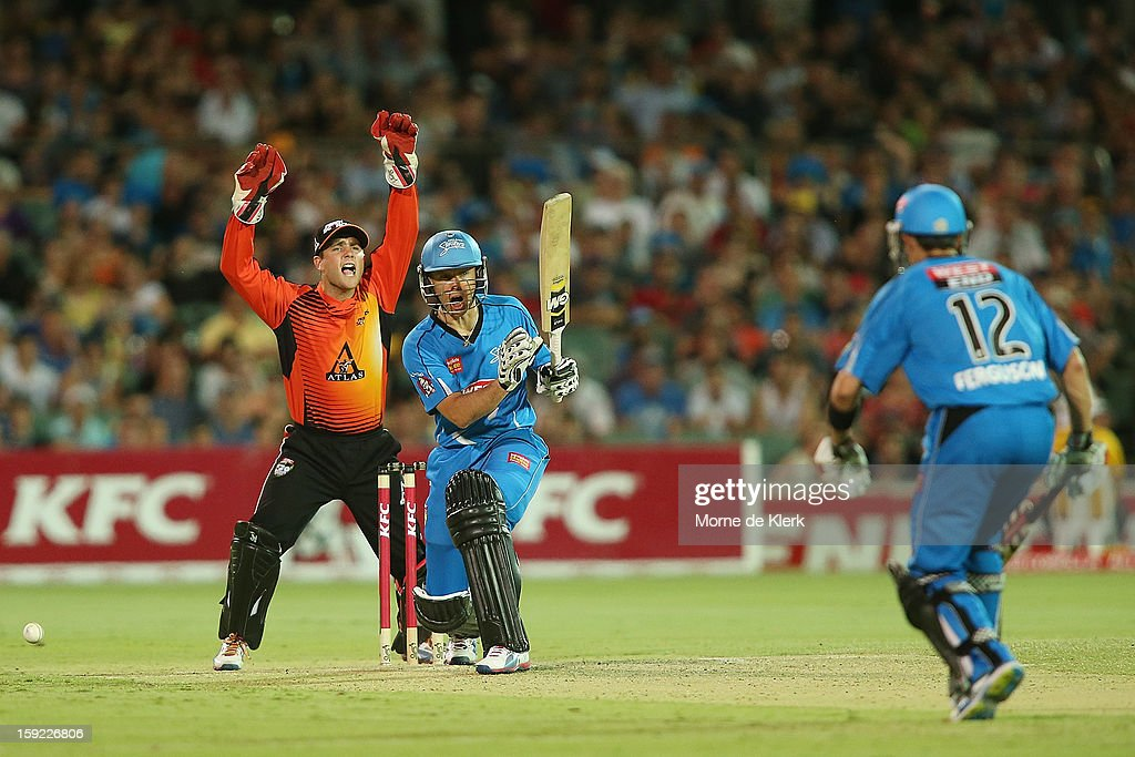 Johan Botha of Adelaide survives an appeal during the Big Bash League match between the Adelaide Strikers and the Perth Scorchers at Adelaide Oval on January 10, 2013 in Adelaide, Australia.