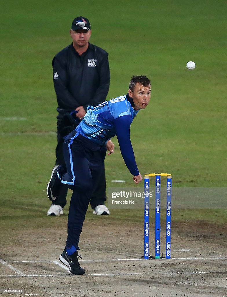 <a gi-track='captionPersonalityLinkClicked' href=/galleries/search?phrase=Johan+Botha+-+Cricket+Player&family=editorial&specificpeople=7360440 ng-click='$event.stopPropagation()'>Johan Botha</a> of Leo Lions bowls during the Oxigen Masters Champions League match between the Libra Legends and Leo Lions on February 7, 2016 in Sharjah, United Arab Emirates.