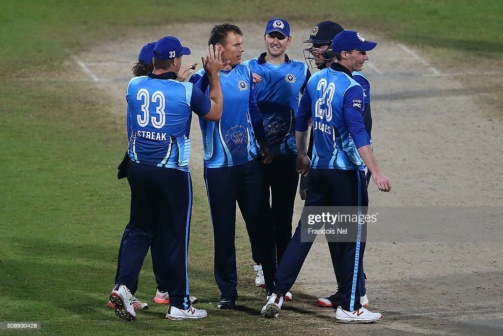 <a gi-track='captionPersonalityLinkClicked' href=/galleries/search?phrase=Johan+Botha+-+Cricket+Player&family=editorial&specificpeople=7360440 ng-click='$event.stopPropagation()'>Johan Botha</a> of Leo Lions celebrates the wicket of Jacques Kallis of Libra Legends during the Oxigen Masters Champions League match between the Libra Legends and Leo Lions on February 7, 2016 in Sharjah, United Arab Emirates.