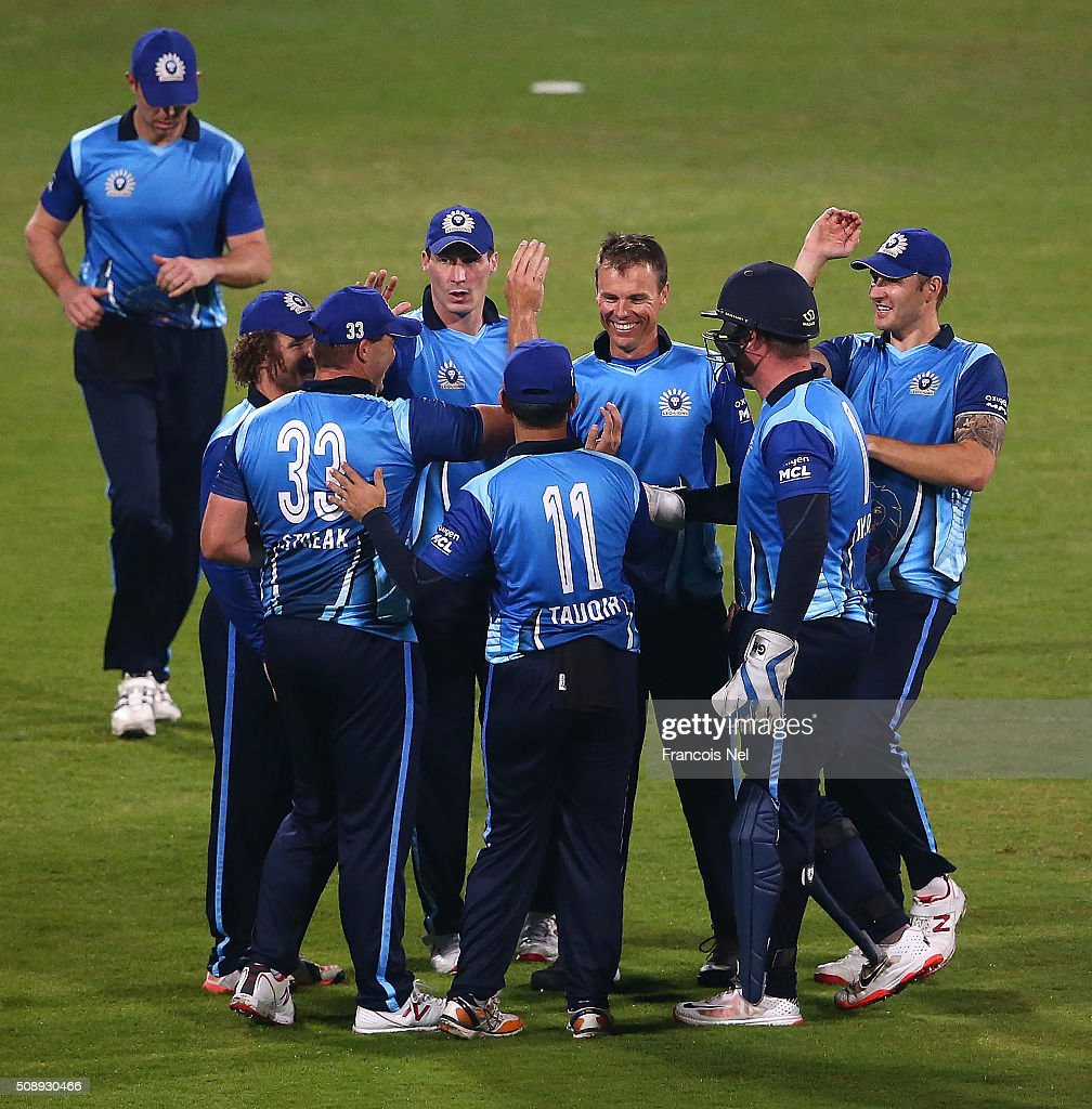 <a gi-track='captionPersonalityLinkClicked' href=/galleries/search?phrase=Johan+Botha+-+Cricket+Player&family=editorial&specificpeople=7360440 ng-click='$event.stopPropagation()'>Johan Botha</a> of Leo Lions celebrates the wicket of Jacques Kallis of Libra Legends with his team-mates during the Oxigen Masters Champions League match between the Libra Legends and Leo Lions on February 7, 2016 in Sharjah, United Arab Emirates.