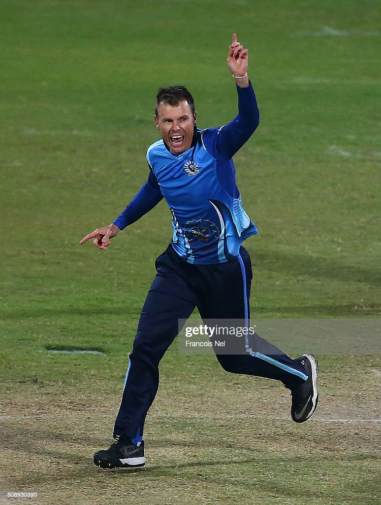 <a gi-track='captionPersonalityLinkClicked' href=/galleries/search?phrase=Johan+Botha+-+Cricket+Player&family=editorial&specificpeople=7360440 ng-click='$event.stopPropagation()'>Johan Botha</a> of Leo Lions celebrates the wicket of Michael Lumb of Libra Legends during the Oxigen Masters Champions League match between the Libra Legends and Leo Lions on February 7, 2016 in Sharjah, United Arab Emirates.