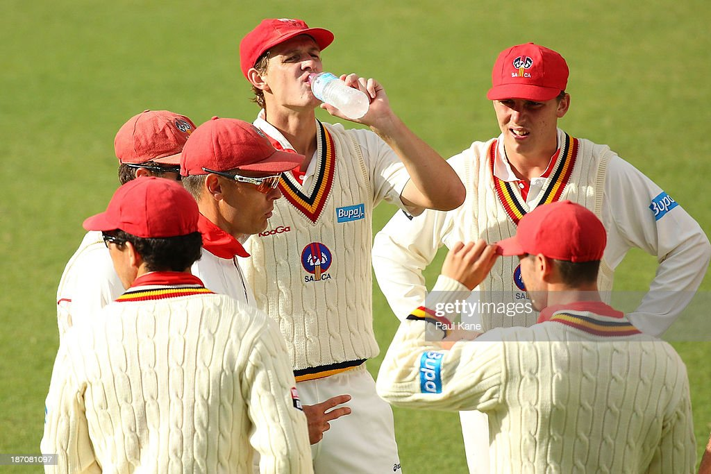 Johan Botha of the Redbacks addresses his players before taking to the field during day one of the Sheffield Shield match between the Western Australia Warriors and the South Australia Redbacks at the WACA on November 6, 2013 in Perth, Australia.