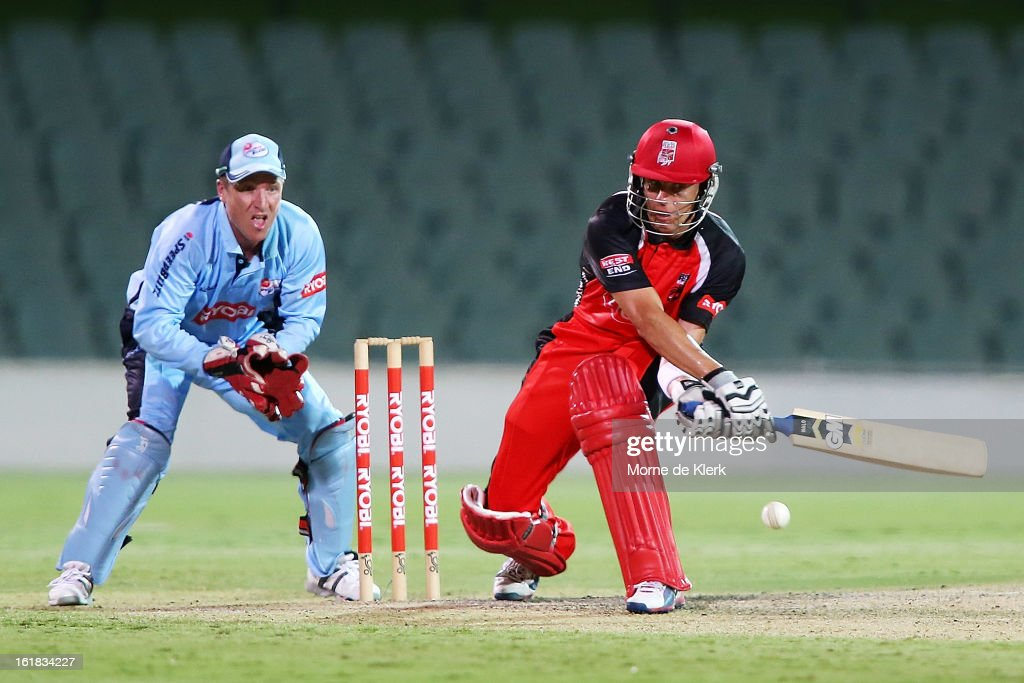 Johan Botha of the Redbacks plays a reverse sweep in front of Brad Haddin of the Blues during the Ryobi One Day Cup match between the South Australian Redbacks and the New South Wales Blues at Adelaide Oval on February 17, 2013 in Adelaide, Australia.