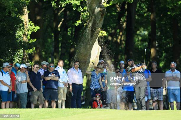 Johan Carlsson of Sweden plays his second shot on the 6th hole during day two of the BMW PGA Championship at Wentworth on May 26 2017 in Virginia...
