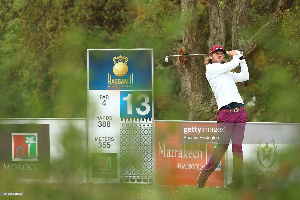 Johan Carlsson of Sweden plays his tee shot on the 13th hole during the second round of the Trophee Hassan II at Royal Golf Dar Es Salam on May 6, 2016 in Rabat, Morocco.