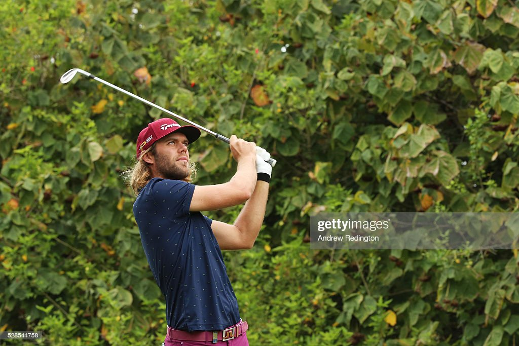Johan Carlsson of Sweden plays his tee shot on the 14th hole during the second round of the Trophee Hassan II at Royal Golf Dar Es Salam on May 6, 2016 in Rabat, Morocco.