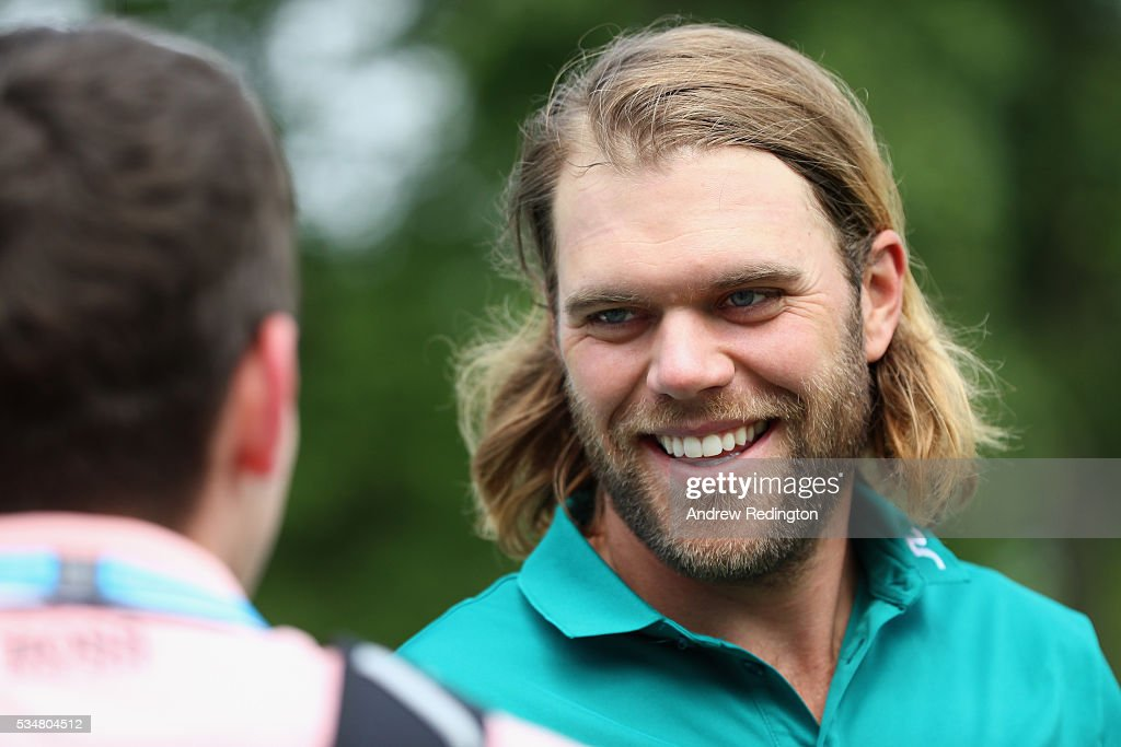 Johan Carlsson of Sweden smiles during day three of the BMW PGA Championship at Wentworth on May 28, 2016 in Virginia Water, England.