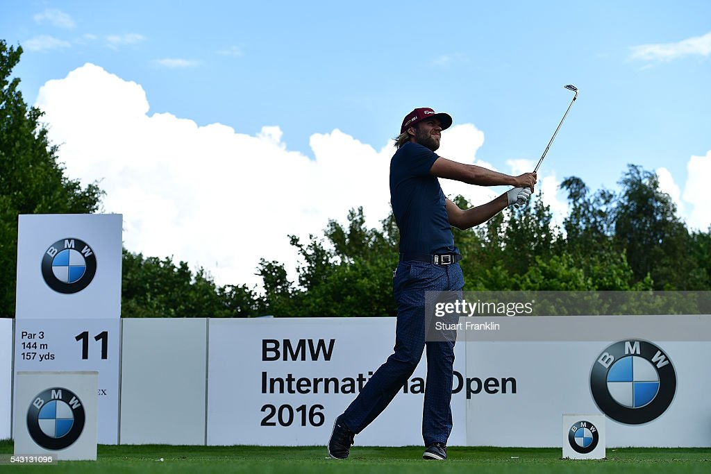 Johan Carlsson of Sweden tees off during the final round of the BMW International Open at Gut Larchenhof on June 26, 2016 in Cologne, Germany.