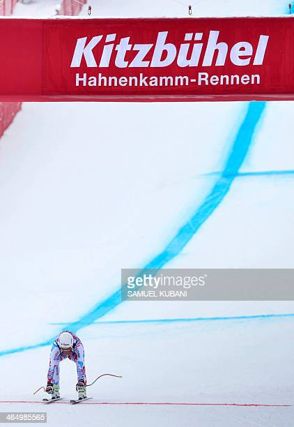 Johan Clarey of France arrives to finish area during the men's downhill in FIS Alpine skiing World cup in Kitzbuehel on January 25 2014 AFP...