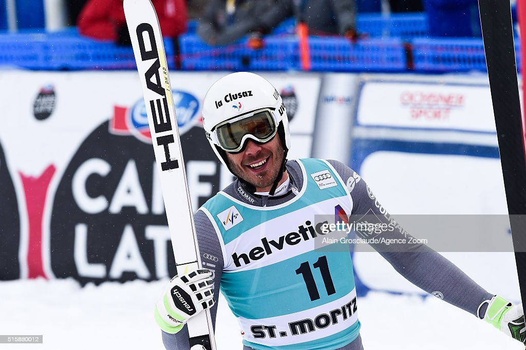 Johan Clarey of France celebrates during the Audi FIS Alpine Ski World Cup Finals Men's and Women's Downhill on March 16, 2016 in St. Moritz, Switzerland.
