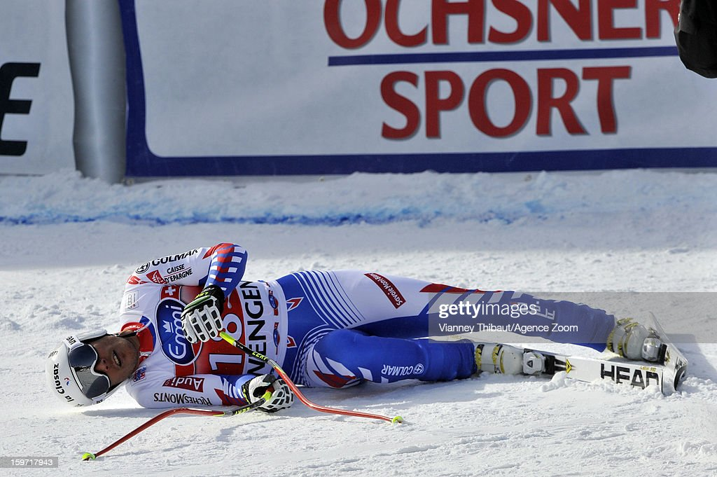 Johan Clarey of France competes during the Audi FIS Alpine Ski World Cup Men's Downhill on January 19 2013 in Wengen Switzerland