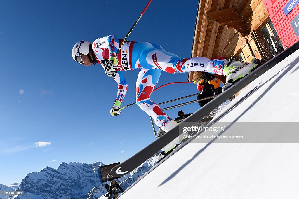 Johan Clarey of France competes during the Audi FIS Alpine Ski World Cup Men's Downhill Training on January 13, 2015 in Wengen, Switzerland.