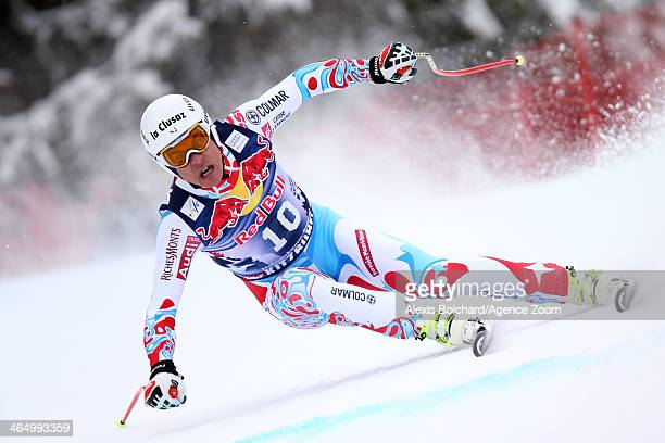 Johan Clarey of France competes during the Audi FIS Alpine Ski World Cup Men's Downhill on January 25 2014 in Kitzbuehel Austria