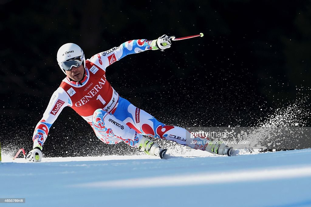 Johan Clarey of France competes during the Audi FIS Alpine Ski World Cup Men's Super G on March 08, 2015 in Kvitfjell, Norway.