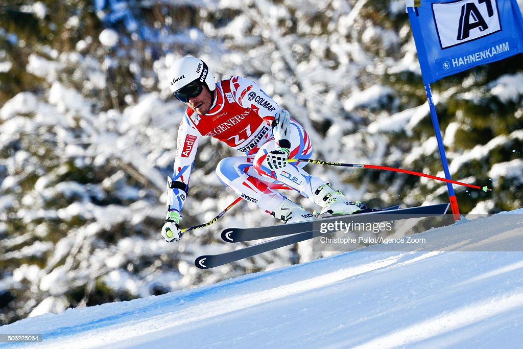 <a gi-track='captionPersonalityLinkClicked' href=/galleries/search?phrase=Johan+Clarey&family=editorial&specificpeople=4051720 ng-click='$event.stopPropagation()'>Johan Clarey</a> of France competes during the Audi FIS Alpine Ski World Cup Men's Super-G on January 22, 2016 in Kitzbuehel, Austria.