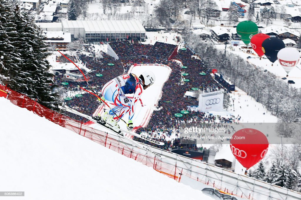 <a gi-track='captionPersonalityLinkClicked' href=/galleries/search?phrase=Johan+Clarey&family=editorial&specificpeople=4051720 ng-click='$event.stopPropagation()'>Johan Clarey</a> of France competes during the Audi FIS Alpine Ski World Cup Men's Downhill on January 23, 2016 in Kitzbuehel, Austria.