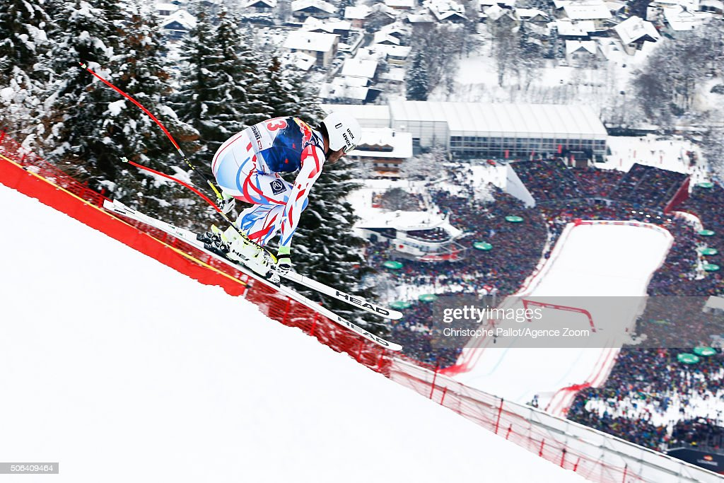 Johan Clarey of France competes during the Audi FIS Alpine Ski World Cup Men's Downhill on January 23, 2016 in Kitzbuehel, Austria.