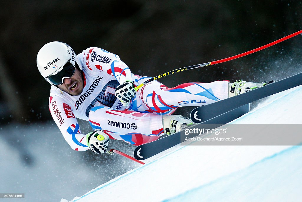 <a gi-track='captionPersonalityLinkClicked' href=/galleries/search?phrase=Johan+Clarey&family=editorial&specificpeople=4051720 ng-click='$event.stopPropagation()'>Johan Clarey</a> of France competes during the Audi FIS Alpine Ski World Cup Men's Downhill on January 30, 2016 in Garmisch-Partenkirchen, Germany.