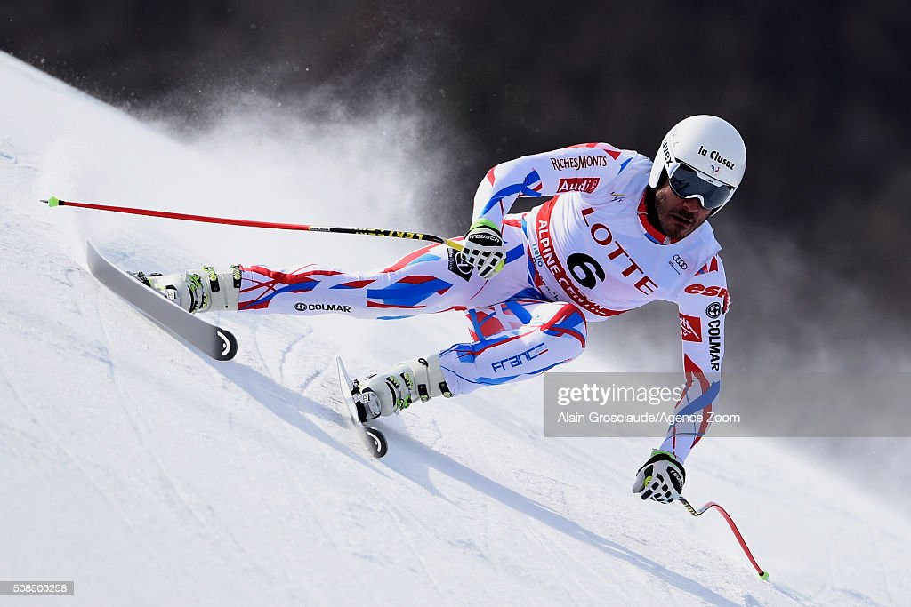 <a gi-track='captionPersonalityLinkClicked' href=/galleries/search?phrase=Johan+Clarey&family=editorial&specificpeople=4051720 ng-click='$event.stopPropagation()'>Johan Clarey</a> of France competes during the Audi FIS Alpine Ski World Cup Men's Downhill Training on February 05, 2016 in Jeongseon, South Korea.