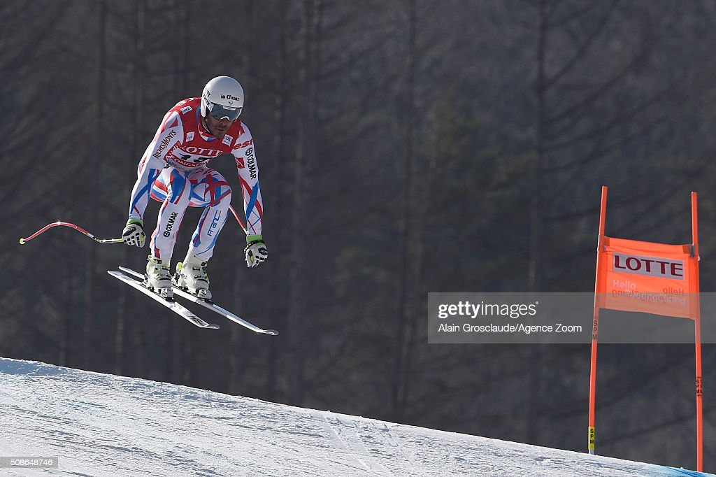 Johan Clarey of France competes during the Audi FIS Alpine Ski World Cup Men's Downhill on January 06, 2016 in Jeongseon, South Korea.