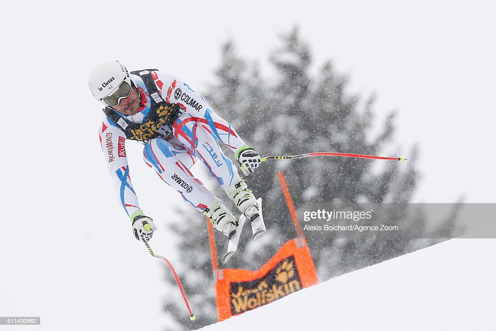 Johan Clarey of France competes during the Audi FIS Alpine Ski World Cup Men's Downhill on February 20, 2016 in Chamonix, France.